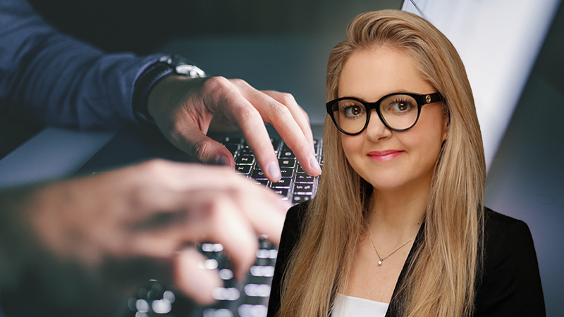 Eilin Schjetne, product director, in a photo collage with a laptop keyboard